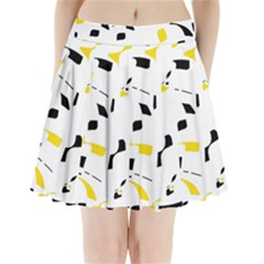 Yellow, black and white pattern Pleated Mini Mesh Skirt