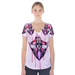 Bdsm Love Short Sleeve Front Detail Top