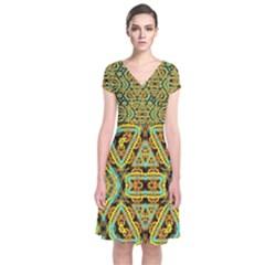 Yyyyy (2)f Short Sleeve Front Wrap Dress