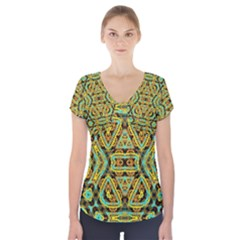 Yyyyy (2)f Short Sleeve Front Detail Top