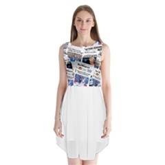 Hillary 2016 Historic Newspaper Collage Sleeveless Chiffon Dress