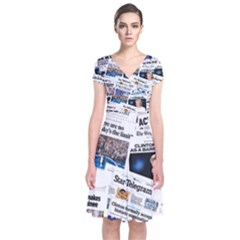 Hillary 2016 Historic Newspaper Collage Short Sleeve Front Wrap Dress