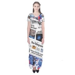 Hillary 2016 Historic Newspaper Collage Short Sleeve Maxi Dress