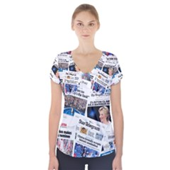Hillary 2016 Historic Newspaper Collage Short Sleeve Front Detail Top