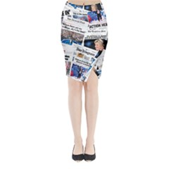 Hillary 2016 Historic Newspaper Collage Midi Wrap Pencil Skirt