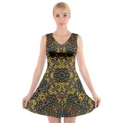 2016 02 8  22 47 02 (4)i V Neck Sleeveless Skater Dress
