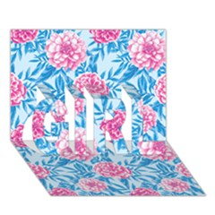 Blue & Pink Floral GIRL 3D Greeting Card (7x5)