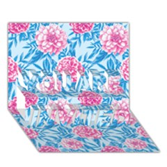 Blue & Pink Floral You Are Invited 3d Greeting Card (7x5)