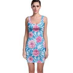 Blue & Pink Floral Sleeveless Bodycon Dress