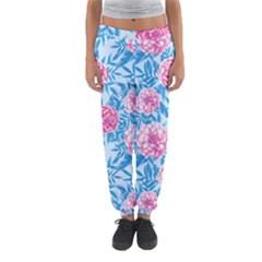 Blue & Pink Floral Women s Jogger Sweatpants