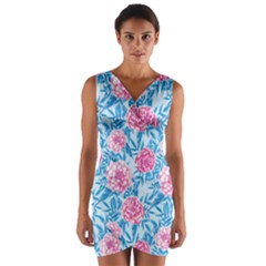 Blue & Pink Floral Wrap Front Bodycon Dress