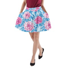 Blue & Pink Floral A Line Pocket Skirt