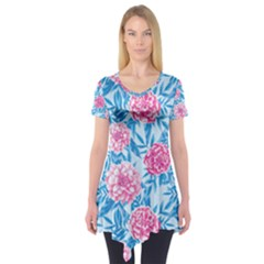 Blue & Pink Floral Short Sleeve Tunic