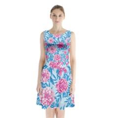 Blue & Pink Floral Sleeveless Waist Tie Dress