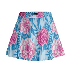 Blue & Pink Floral Mini Flare Skirt