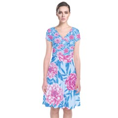 Blue & Pink Floral Short Sleeve Front Wrap Dress
