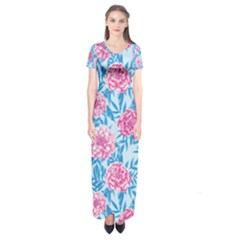 Blue & Pink Floral Short Sleeve Maxi Dress