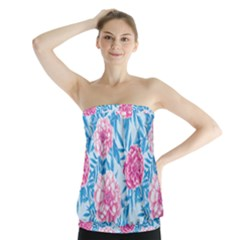 Blue & Pink Floral Strapless Top