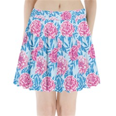Blue & Pink Floral Pleated Mini Mesh Skirt