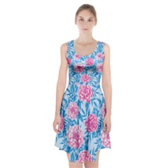 Blue & Pink Floral Racerback Midi Dress