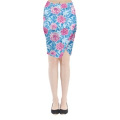 Blue & Pink Floral Midi Wrap Pencil Skirt