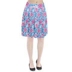 Blue & Pink Floral Pleated Mesh Skirt