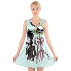Skellingjuice V Neck Sleeveless Skater Dress