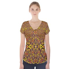 Apart Art Short Sleeve Front Detail Top