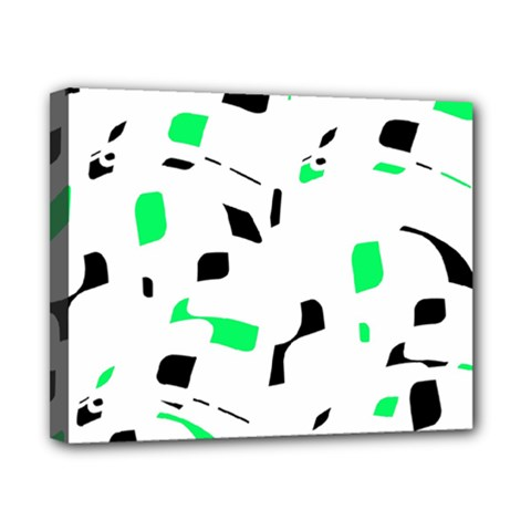 Green, black and white pattern Canvas 10  x 8