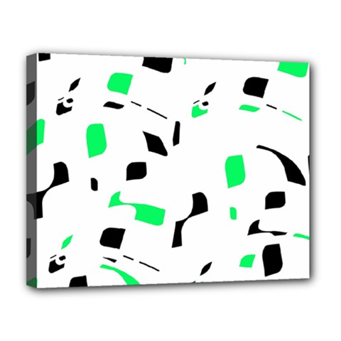 Green, black and white pattern Canvas 14  x 11