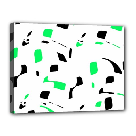 Green, black and white pattern Canvas 16  x 12
