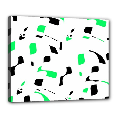 Green, black and white pattern Canvas 20  x 16