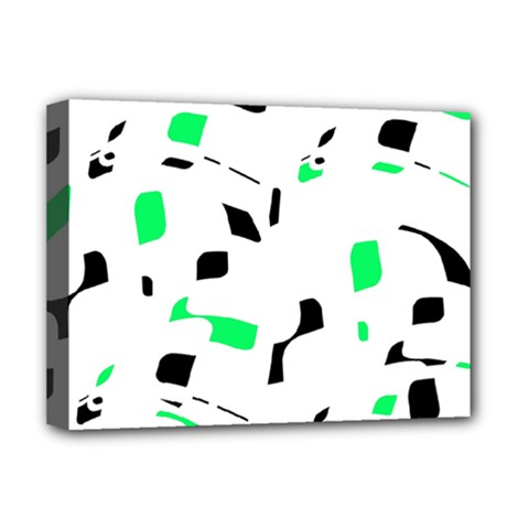 Green, black and white pattern Deluxe Canvas 16  x 12