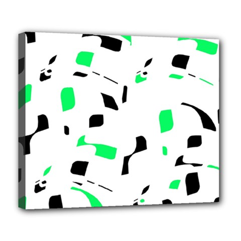 Green, black and white pattern Deluxe Canvas 24  x 20