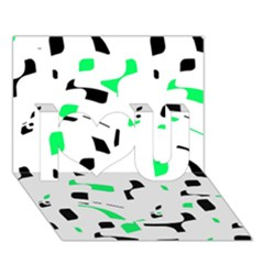 Green, black and white pattern I Love You 3D Greeting Card (7x5)