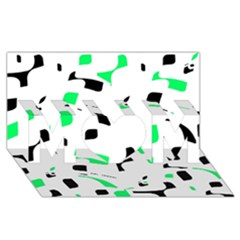 Green, black and white pattern MOM 3D Greeting Card (8x4)