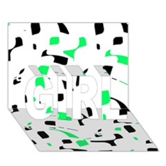 Green, black and white pattern GIRL 3D Greeting Card (7x5)