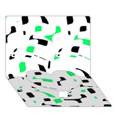 Green, black and white pattern Heart Bottom 3D Greeting Card (7x5)