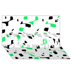 Green, black and white pattern BEST BRO 3D Greeting Card (8x4)