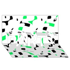 Green, black and white pattern PARTY 3D Greeting Card (8x4)