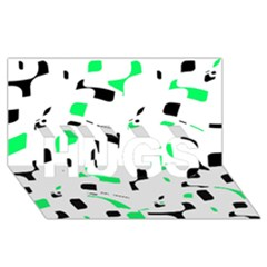 Green, black and white pattern HUGS 3D Greeting Card (8x4)
