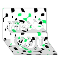Green, Black And White Pattern Miss You 3d Greeting Card (7x5)