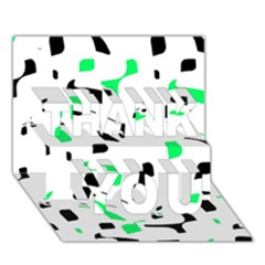 Green, black and white pattern THANK YOU 3D Greeting Card (7x5)