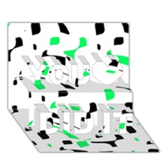 Green, black and white pattern You Did It 3D Greeting Card (7x5)
