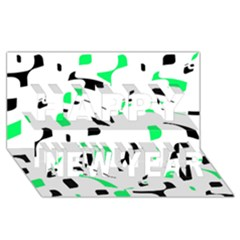Green, Black And White Pattern Happy New Year 3d Greeting Card (8x4)