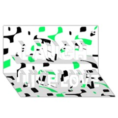 Green, black and white pattern Laugh Live Love 3D Greeting Card (8x4)