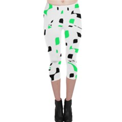 Green, black and white pattern Capri Leggings