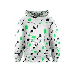 Green, black and white pattern Kids  Pullover Hoodie