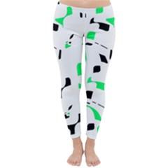 Green, black and white pattern Winter Leggings
