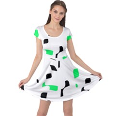 Green, black and white pattern Cap Sleeve Dresses